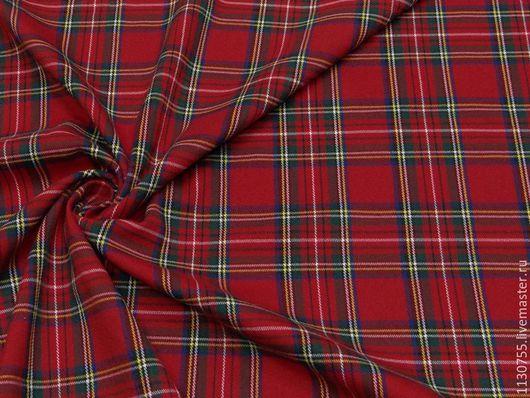 Шитье ручной работы. Ярмарка Мастеров - ручная работа. Купить Ткань костюмная вискоза клетка красная 20.17. Handmade.