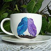 """Посуда ручной работы. Ярмарка Мастеров - ручная работа Чайная пара """"Волшебные совы"""". Handmade."""