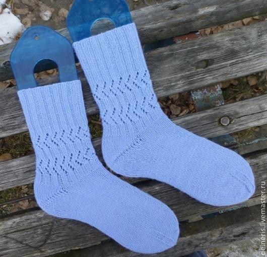 Носки, Чулки ручной работы. Ярмарка Мастеров - ручная работа. Купить Женские вязаные носки голубые. Handmade. Голубой