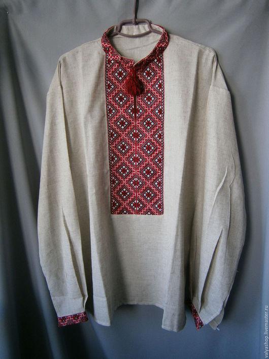 Для мужчин, ручной работы. Ярмарка Мастеров - ручная работа. Купить Рубаха-вышиванка из льна Кубики 56-58. Handmade.