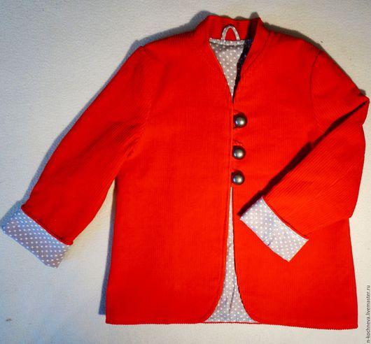 Одежда для девочек, ручной работы. Ярмарка Мастеров - ручная работа. Купить Жакет детский вельветовый красный. Handmade. Ярко-красный