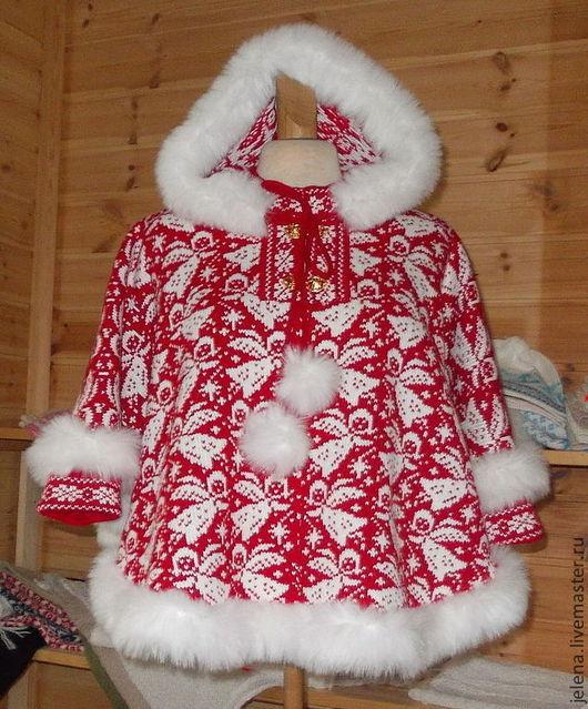 Вязаное пончо детское с капюшоном,отделка искусственным мехом