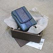 Сувениры и подарки handmade. Livemaster - original item Cigarette case with crocodile insert in a gift box. Regular cigarettes. Handmade.