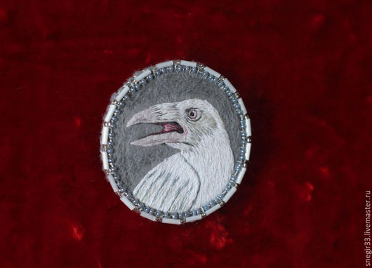 Броши ручной работы. Ярмарка Мастеров - ручная работа. Купить Белый ворон. Handmade. Белый, ночь, крупная брошь, птица