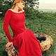 """Платья ручной работы. Ярмарка Мастеров - ручная работа. Купить Вязаное длинное платье """" Красная птица"""". Handmade."""