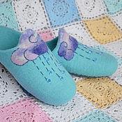 Обувь ручной работы. Ярмарка Мастеров - ручная работа Дождик. Валяные шерстяные тапки-шлёпанцы.. Handmade.