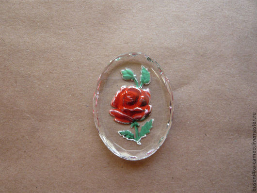 Для украшений ручной работы. Ярмарка Мастеров - ручная работа. Купить Инталия Красная роза 30х40мм (стекло) 1шт.. Handmade.