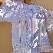 Одежда handmade. Livemaster - original item Summer tunic flying from white sewing and lace in boho Adele style. Handmade.