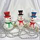 Снеговик из дерева  на ёлку .Ёлочное украшение.Подарок на новый год.Новогодний сувенир. № 1, 2(продан), 3 слева направо.