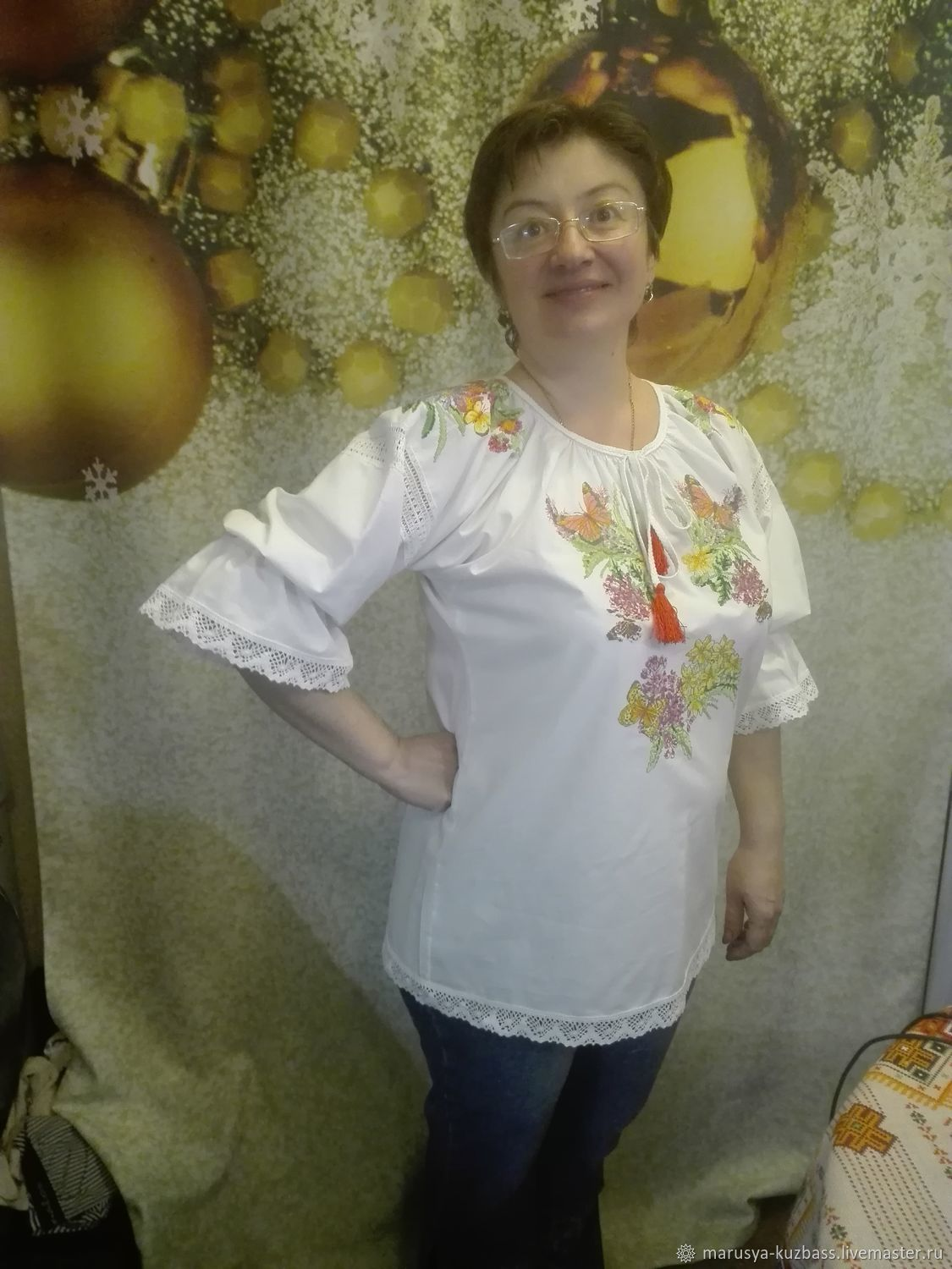 Blouse with full embroidery. Meadow flowers, Blouses, Kemerovo,  Фото №1