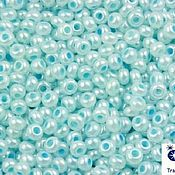 Материалы для творчества handmade. Livemaster - original item 10 grams of 10/0 seed Beads, Czech Preciosa 37132 Premium blue alabaster. Handmade.