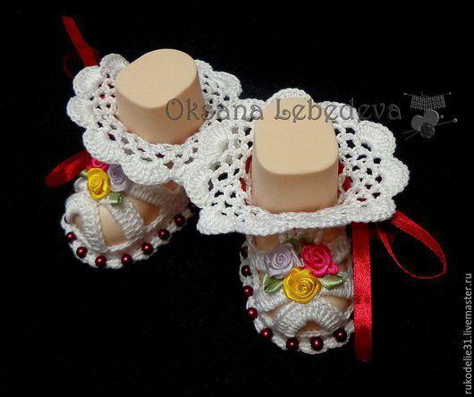 Для новорожденных, ручной работы. Ярмарка Мастеров - ручная работа. Купить Пинетки вязаные крючком из хлопка летние Роза для девочки белый. Handmade.