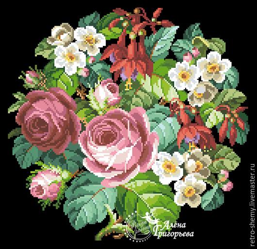 """Вышивка ручной работы. Ярмарка Мастеров - ручная работа. Купить Схема вышивки """"Розы и фуксии"""". Handmade. Схема для вышивки, ретро"""