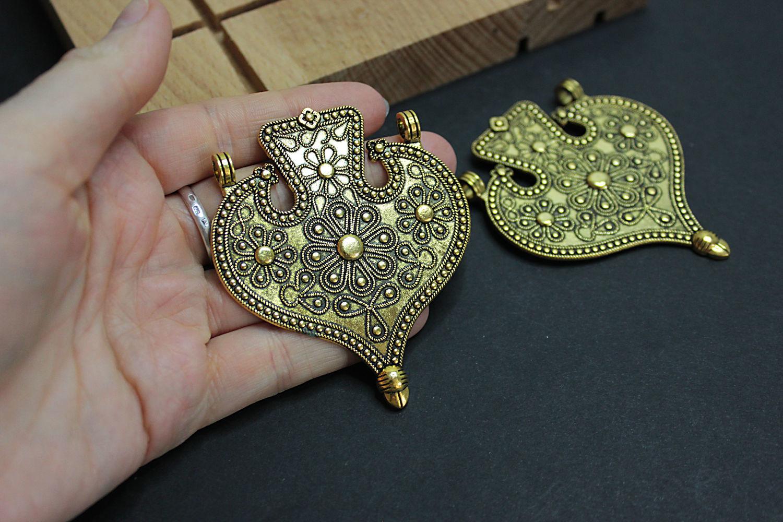 Ethnic Metal Antique Gold Pendant 71h60mm, Pendants, Bryansk,  Фото №1