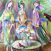 """Картины и панно ручной работы. Ярмарка Мастеров - ручная работа Картина""""На веранде...""""(акварельные карандаши,масляная пастель). Handmade."""