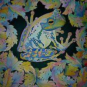 """Аксессуары ручной работы. Ярмарка Мастеров - ручная работа Батик  платок """"Приносящая удачу"""" , натуральный шёлк, атлас.90-90см.. Handmade."""