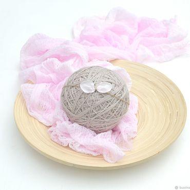 Работы для детей, ручной работы. Ярмарка Мастеров - ручная работа Марлевая обмотка для фотосессии новорожденных + повязочка розовая. Handmade.