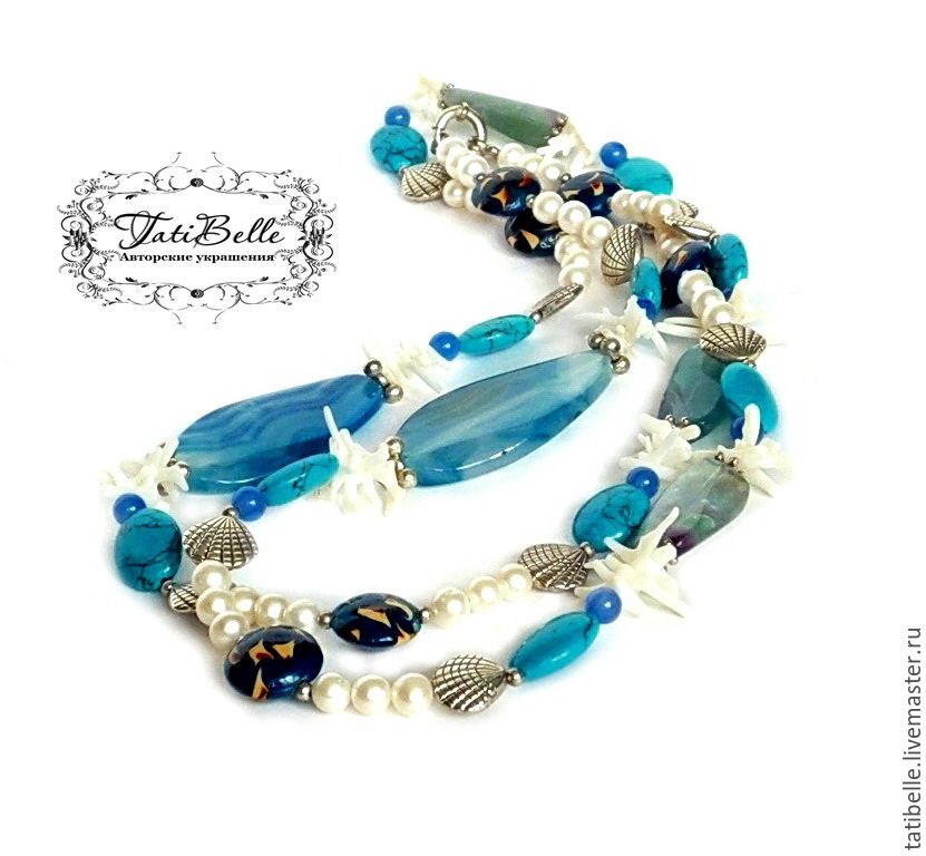 Beads 'Sea Cruise' agate, fluorite, pearls, turquoise, coral, Necklace, Moscow,  Фото №1