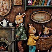 """Картины и панно ручной работы. Ярмарка Мастеров - ручная работа """"Уютная нора мистера Банни"""" барельеф из папье-маше. Handmade."""