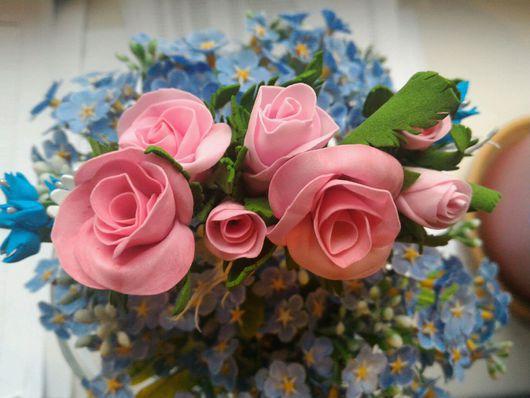 """Заколки ручной работы. Ярмарка Мастеров - ручная работа. Купить Гребень из фоамирана """"Цветочное настроение"""". Handmade. Гребень для волос, розы"""