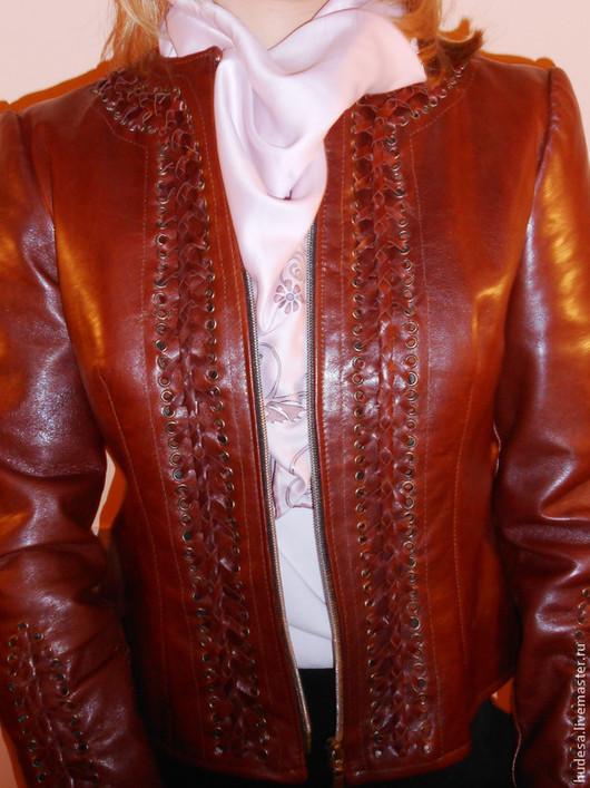 """Верхняя одежда ручной работы. Ярмарка Мастеров - ручная работа. Купить Куртка кожаная """"Синьора"""". Handmade. Коричневый, куртка женская"""