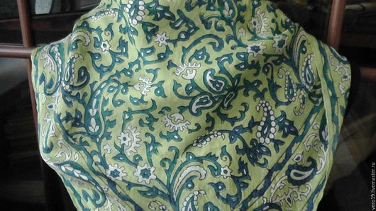 Винтажная одежда и аксессуары. Ярмарка Мастеров - ручная работа. Купить Индийский шейный платочек.. Handmade. Салатовый, винтажный, платок на шею