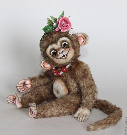 Мишки Тедди ручной работы. Ярмарка Мастеров - ручная работа. Купить Анфиса.. Handmade. Коричневый, обезьянка тедди, ободок
