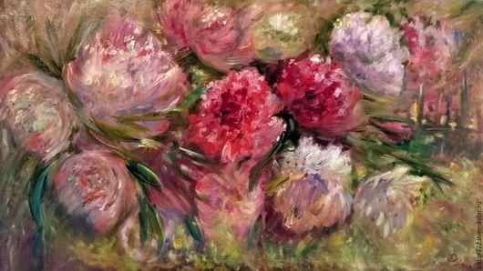 Картины цветов ручной работы. Ярмарка Мастеров - ручная работа. Купить Пионы в моем саду.. Handmade. Розовый