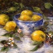 Картины и панно handmade. Livemaster - original item Picture of wool. Lemon Time.  Still life with lemons.. Handmade.