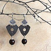 Украшения handmade. Livemaster - original item Ethno leather earrings Dark brown, black. Handmade.