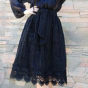 """Одежда ручной работы. Ярмарка Мастеров - ручная работа Нарядная юбка с кружевом """"Магия черного"""" юбка миди, юбка с поясом. Handmade."""
