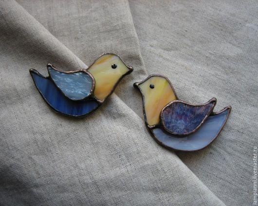 """Броши ручной работы. Ярмарка Мастеров - ручная работа. Купить Броши """"Птички"""". Handmade. Брошь, синий, броши, оригинальный подарок"""