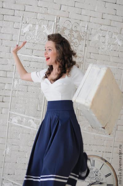 """Юбки ручной работы. Ярмарка Мастеров - ручная работа. Купить Юбка """"Волна"""". Handmade. Тёмно-синий, юбка"""