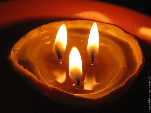 """Свечи ручной работы. Ярмарка Мастеров - ручная работа. Купить Свечи из натурального воска """"Апельсинки"""". Handmade. Оранжевый, подарок на новый год"""