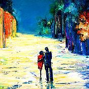 Картины и панно handmade. Livemaster - original item Oil painting. Two men in town. Handmade.