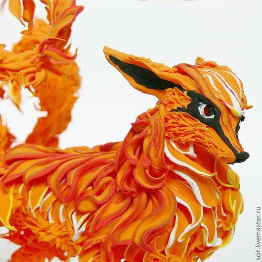 """Игрушки животные, ручной работы. Ярмарка Мастеров - ручная работа. Купить фигурка """"Девятихвостая рыжая лиса кицунэ"""". Handmade."""