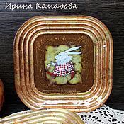 """Посуда ручной работы. Ярмарка Мастеров - ручная работа """"Белый кролик"""", тарелочки. Handmade."""