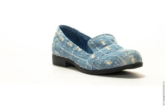 Обувь ручной работы. Ярмарка Мастеров - ручная работа. Купить Лоферы 9-157(ВЧ). Handmade. Мода, сделано с любовью, джинса