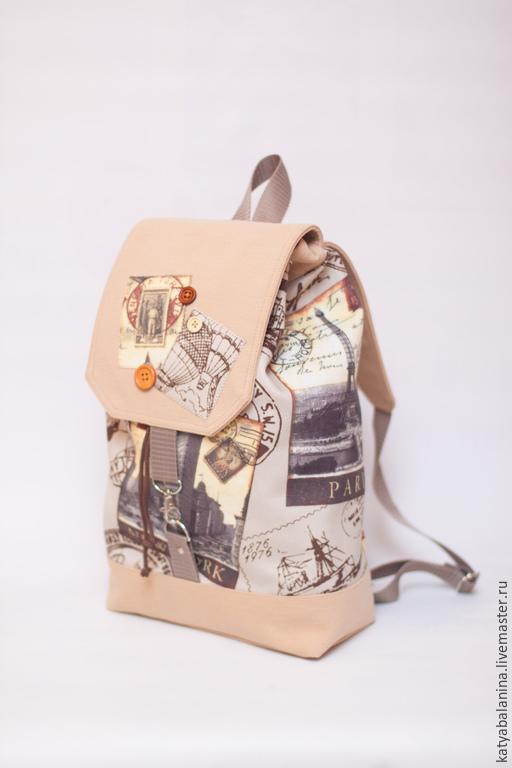 """Рюкзаки ручной работы. Ярмарка Мастеров - ручная работа. Купить городской рюкзак """"Ретро"""" бежевыйцвет. Handmade. Бежевый, рюкзачок"""