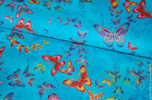 """Шитье ручной работы. Ярмарка Мастеров - ручная работа. Купить Хлопок """"Бабочки"""" (голубой фон). Handmade. Разноцветный, бабочки"""