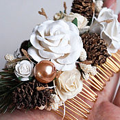 Свадебный салон handmade. Livemaster - original item Emerald crest of white flowers with pine cones winter. Handmade.