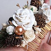 Гребень изумрудный белый с цветами зимний с шишками