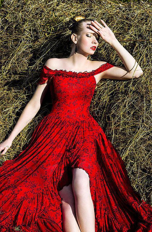 Платья ручной работы. Ярмарка Мастеров - ручная работа. Купить Платье. Handmade. Ярко-красный, платье в пол, рюши