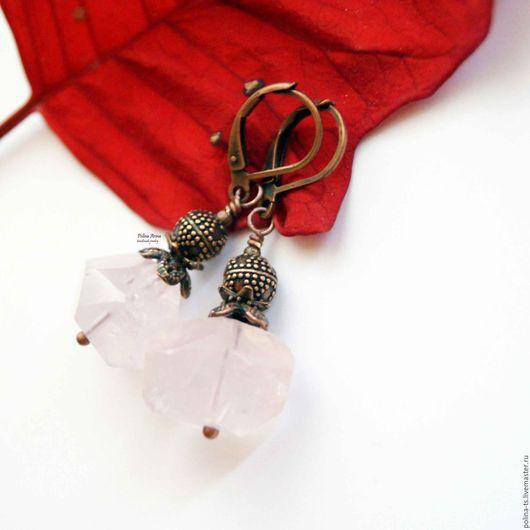 """Серьги ручной работы. Ярмарка Мастеров - ручная работа. Купить Серьги """"Розовое облако"""" натуральный розовый кварц. Handmade."""