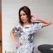 Одежда ручной работы. Ярмарка Мастеров - ручная работа Цветочная блуза, черно-белая туника. Handmade.