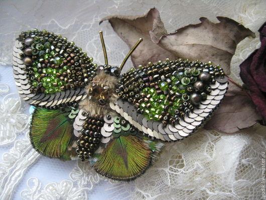 """Броши ручной работы. Ярмарка Мастеров - ручная работа. Купить брошь бабочка""""ББ13-005"""". Handmade. Брошь-бабочка, вышивка, бабочка"""