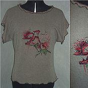 """Одежда ручной работы. Ярмарка Мастеров - ручная работа Топ  с машинной вышивкой """" Роза"""". Handmade."""