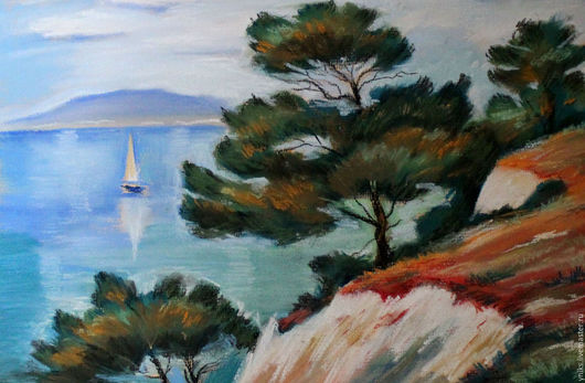 """Пейзаж ручной работы. Ярмарка Мастеров - ручная работа. Купить """"Сосны у моря """" - пастель. Handmade. Комбинированный, картина"""