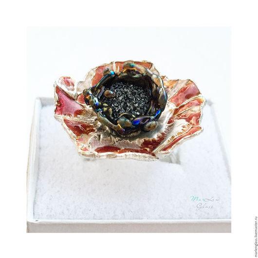 Кулоны, подвески ручной работы. Ярмарка Мастеров - ручная работа. Купить Кольцо Шелковый муар. Handmade. Комбинированный, серебряное кольцо