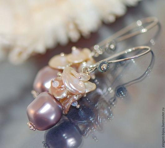 серьги с жемчугом; жемчужные серьги; серьги серебряные купить; купить серьги с жемчугом; купить серьги в подарок; розовые серьги; подарок жене; подарок любимой